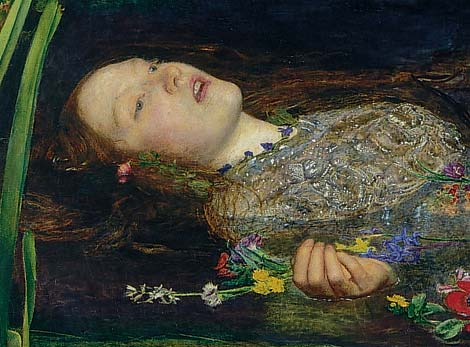John Everett Millais, Ophelia (1851-1852), detail