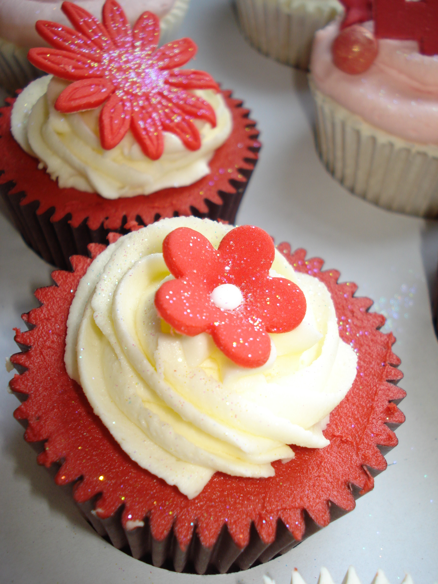 Red cupcake and flower