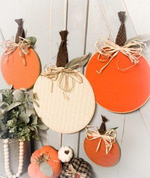 5 Minute Embroidery Hoop Pumpkins