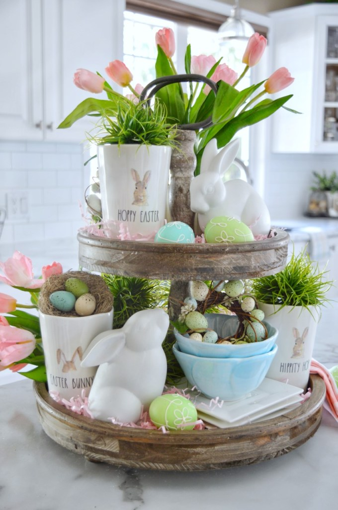 Pastel Easter Tiered Tray Decor Pastel Easter Bead Garland