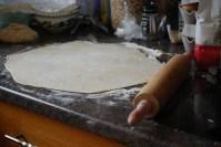 Rolling out the pierogi dough