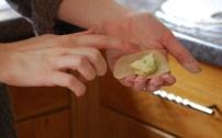 Filling the little dumplings