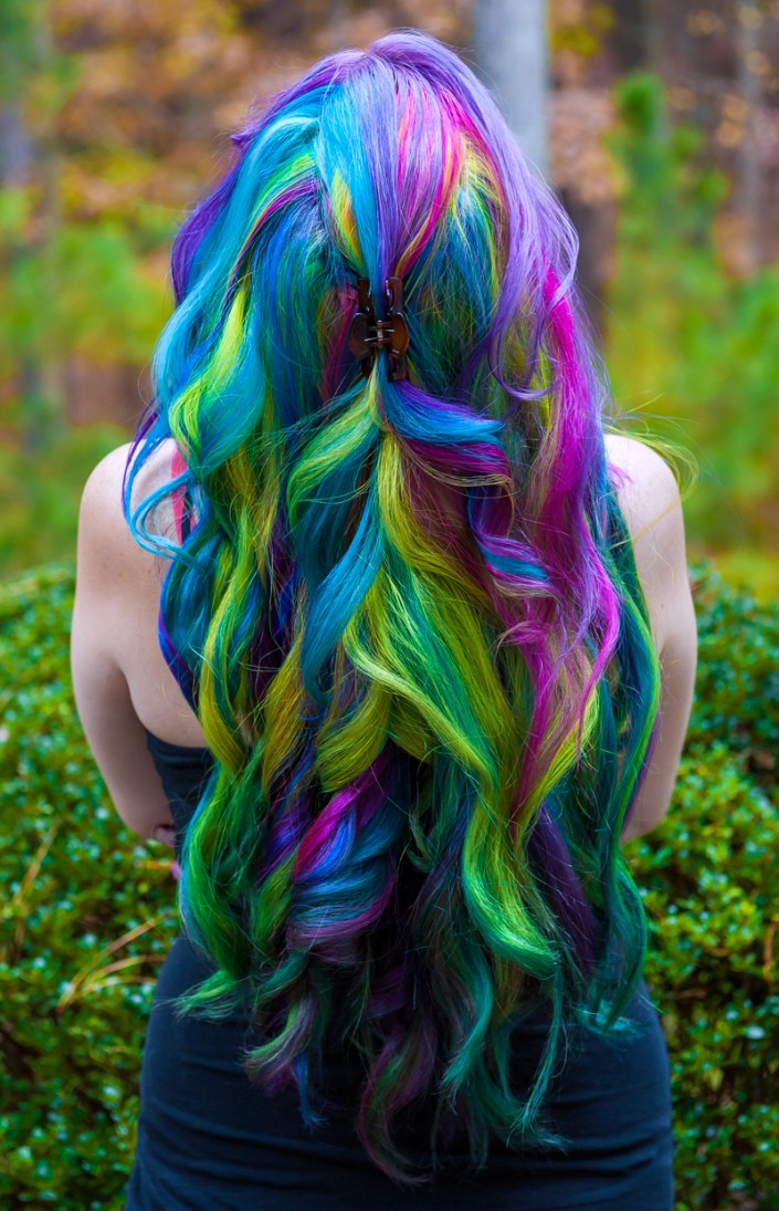 Long rainbow hair in curls. Manic Panic dye hard Lizzy Davis.