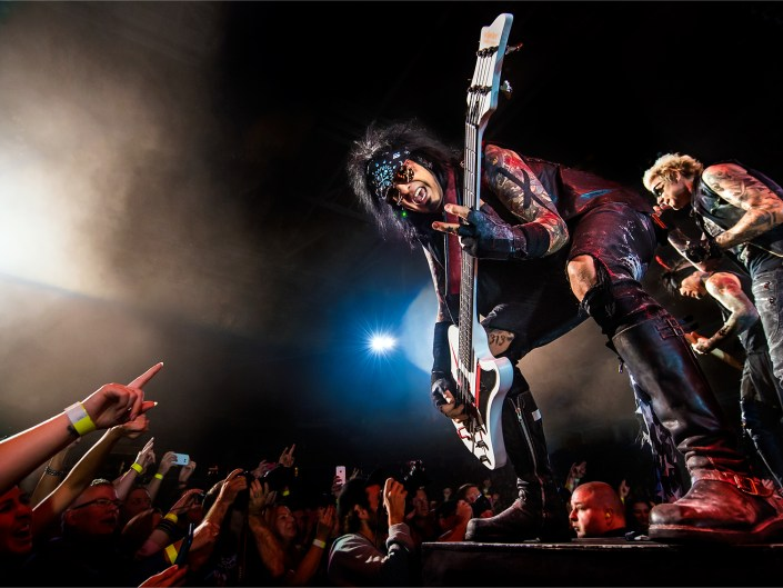 Captivating photo of Nikki Sixx, bassist of SIXX:A.M. and Motley Crue.
