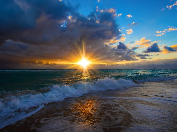 Stunning photo of sunrise over Miami Beach, Florida.