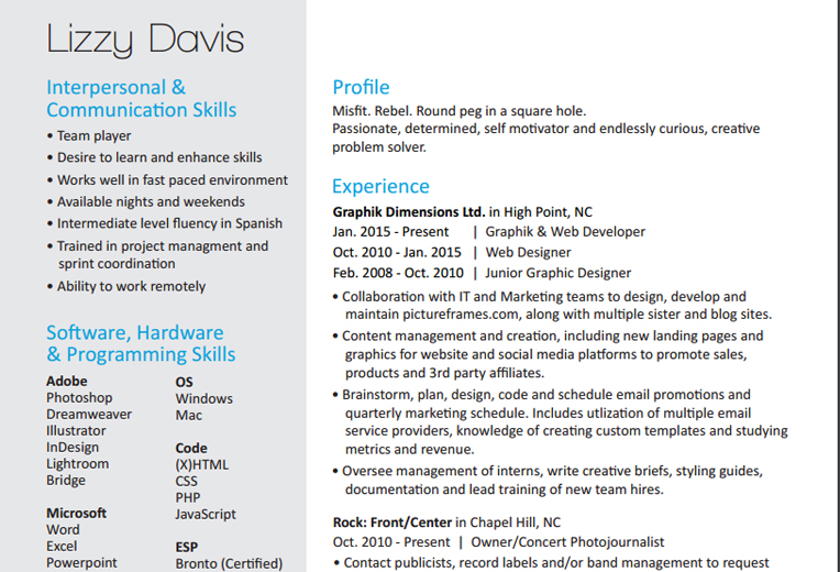 Graphic and Web Developer Resume | Lizzy Davis.