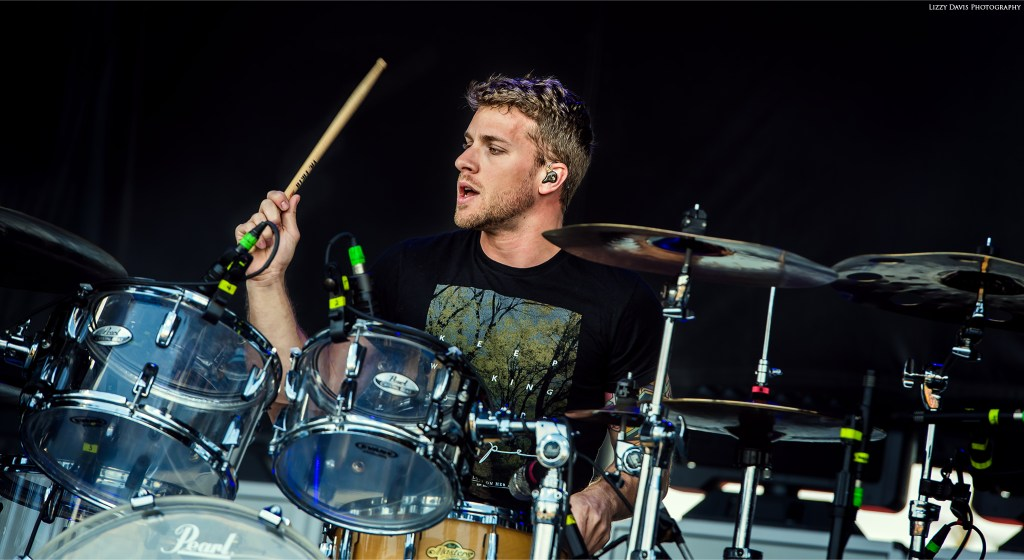 Ben Anderson drumming away at Carolina Rebellion. Nothing More pictures by ©Lizzy Davis Photography.