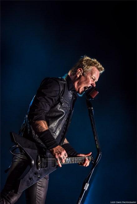 James Hetfield of Metallica. Concert photos by ©Lizzy Davis Photography.