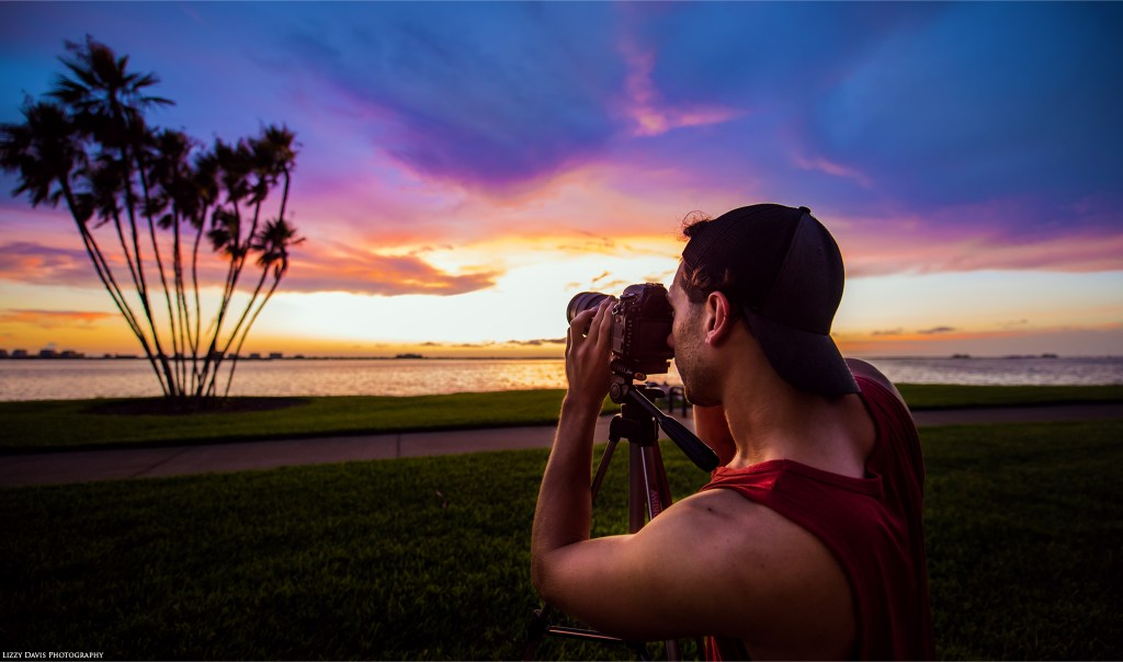 Clearwater, FL based photographer Trevor Williams shooting palm trees at sunset. ©Lizzy Davis Photography