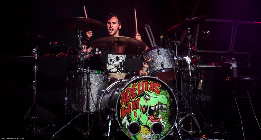 Trevor Stafford, drummer of Adelitas Way live at The Fillmore in Charlotte, NC.