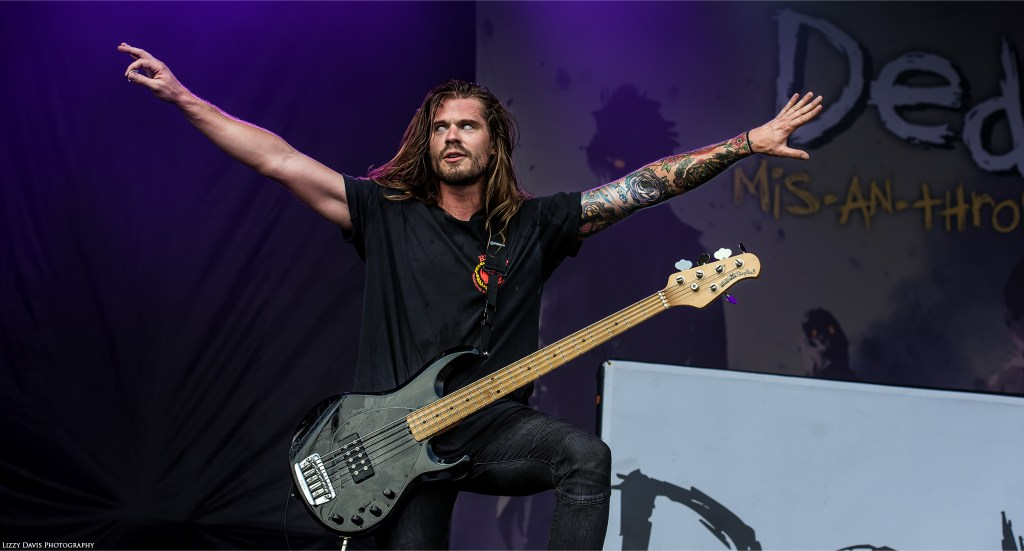 Kyle Koelsch, bassist of nu-metal band DED at Rock on the Range 2017.