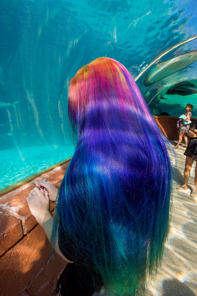 Long rainbow hair gradient by Manic Panic dye hard Lizzy Davis.