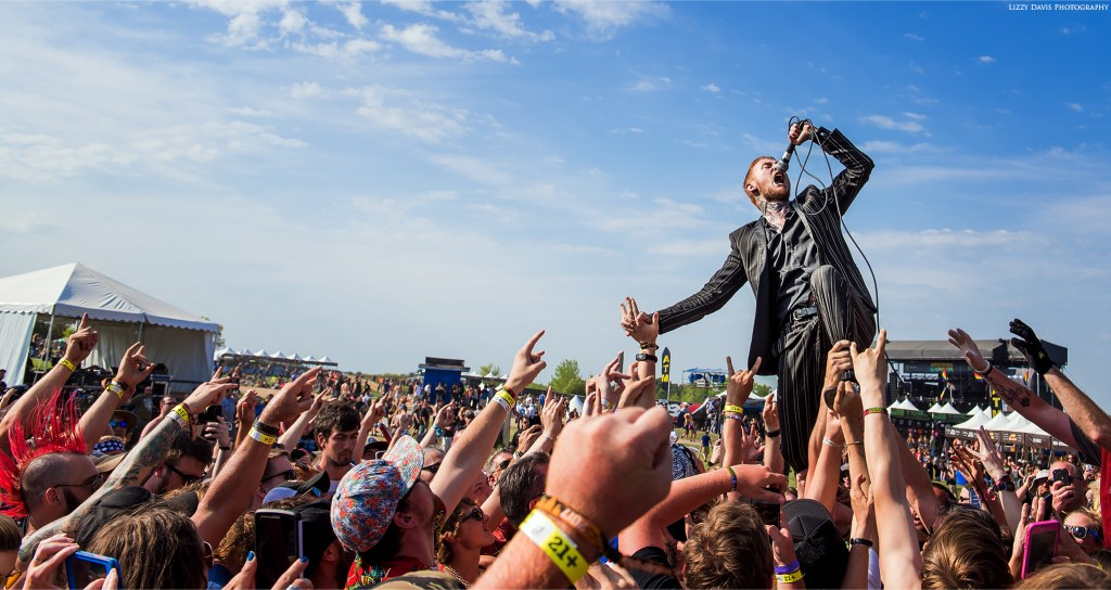 Frank Carter walking on a crowd at Northern Invasion.
