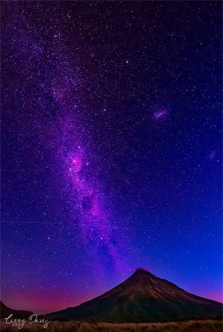 Stunning Milky Way over Taranaki Volcano. | New Zealand travel photography by Lizzy Davis.