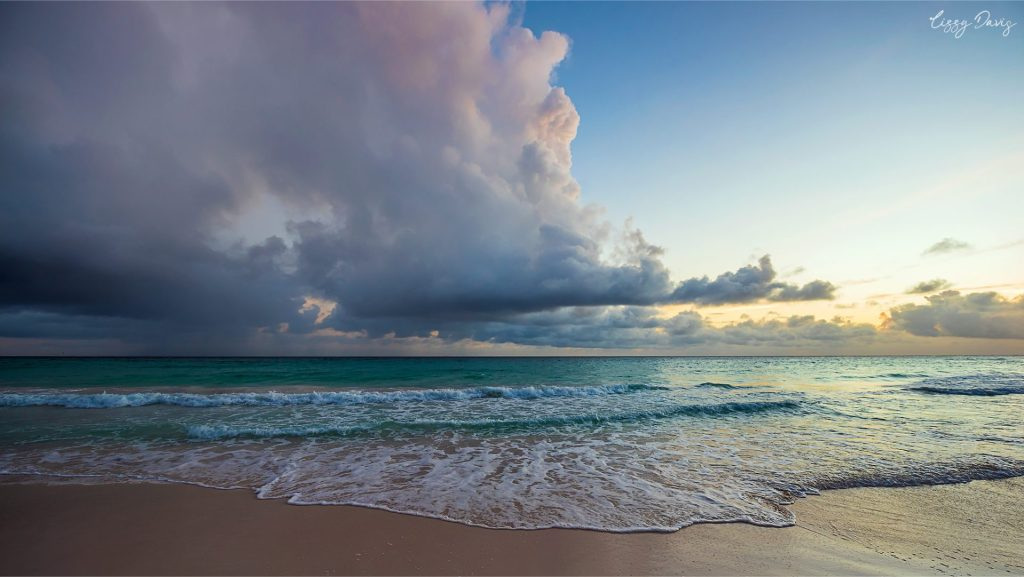 Stormy sunset photo over Rockley Beach on the Caribbean island Barbados.