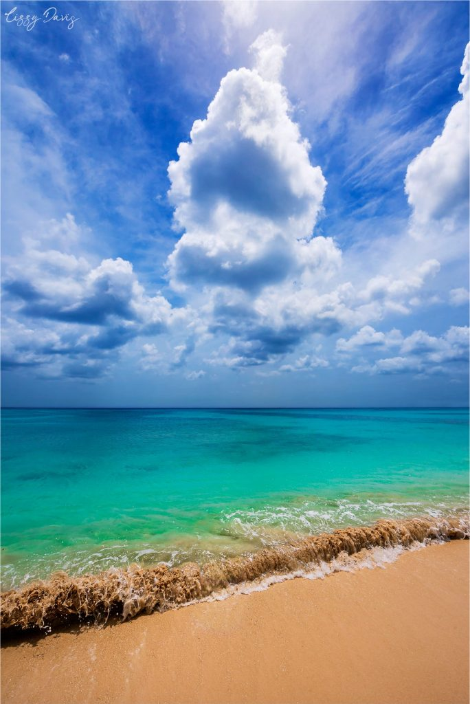 Interesting cloud formation over turquoise Caribbean sea waters of Barbados.
