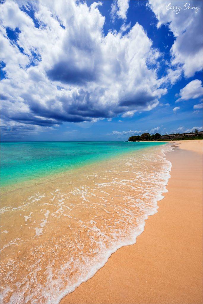 Beautiful Caribbean Sea from Barbados' platinum coast.