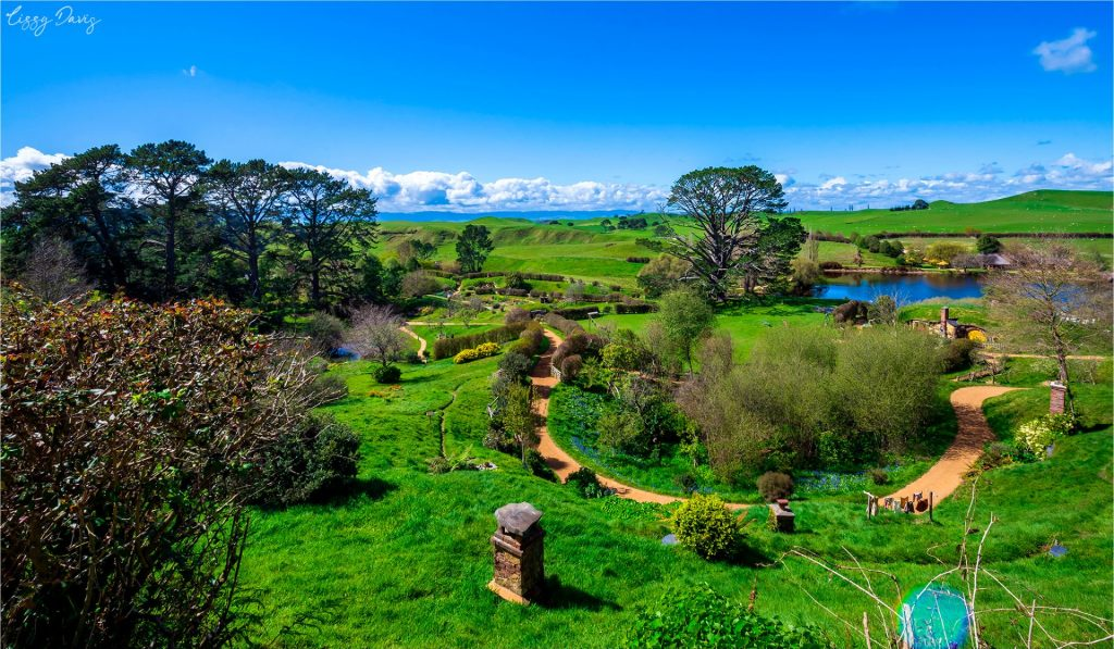 The view of The Shire from Bag End at Hobbiton tourist attraction in New Zealand.