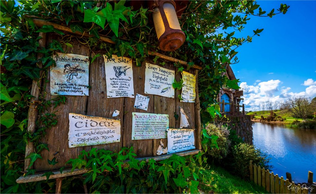 Fun ads, posters, recipes and other signage hung around Hobbiton Village.