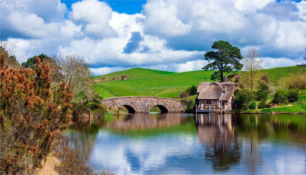 Crossing the stony bridge by Ted Sandyman's Mill at Hobbiton.