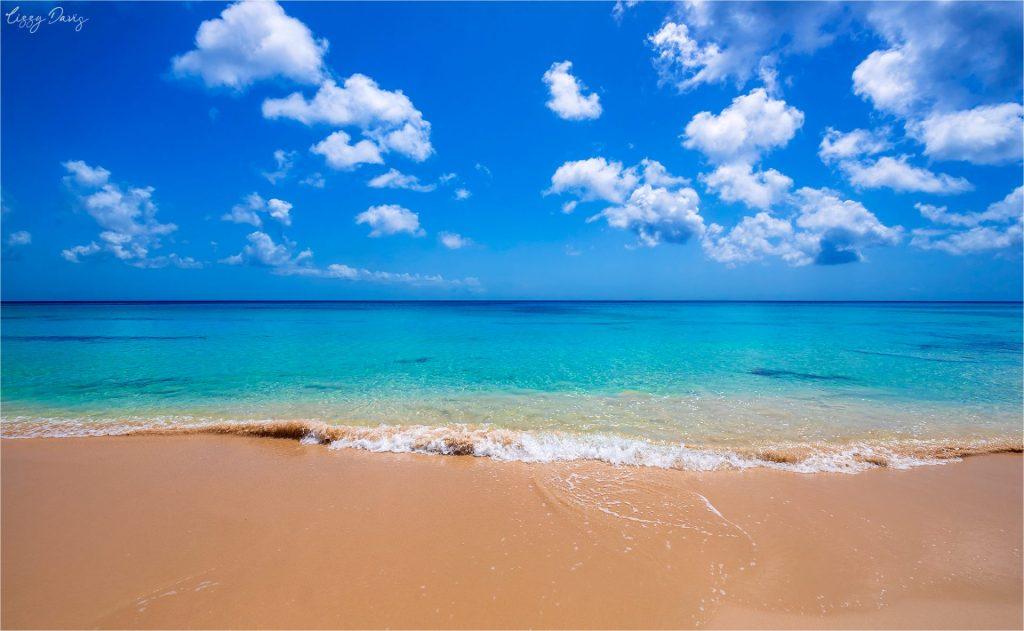 Beautiful blue skies over turquoise Caribbean Sea.