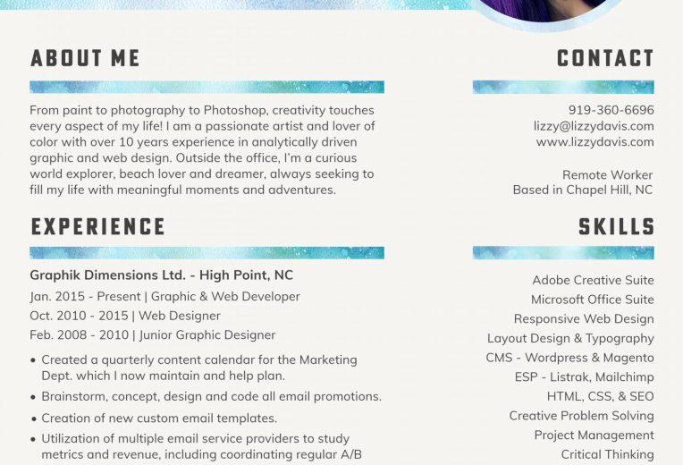 Graphic and Web Developer Resume | Lizzy Davis.