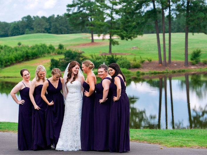 Bridal party portraits on a golf course.