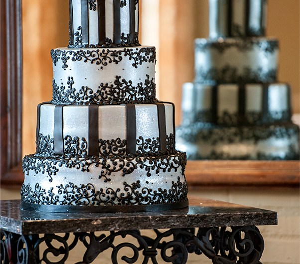 Elegant and striking silver and black tiered wedding cake. Photography by Lizzy Davis.