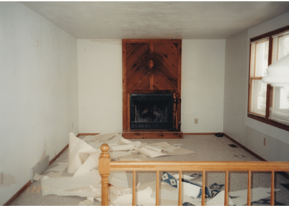 Here's the fireplace and family room before.