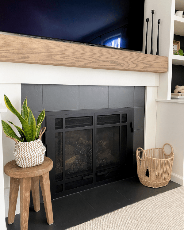 diy mantel and painting the tiles