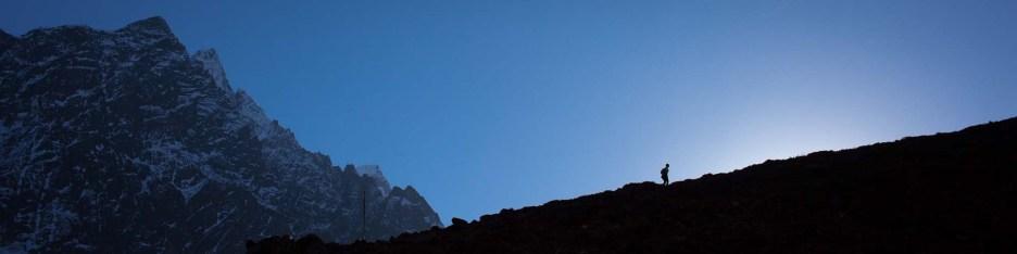 upwards towards the Larkya La (5140m), November 2012