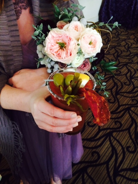 bloody mary and a beautiful bouquet!