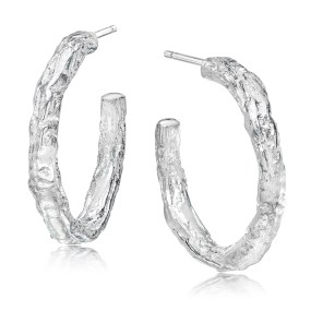 Silver small hoop Banyan Tree earrings - LJD Designs by Laura Jackowski-Dickson