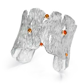 Silver-Gold Seagrass Cuff Fire Opals set in 18K rose gold bezels LJD Jewelry Designs by Laura Jackowski-Dickson