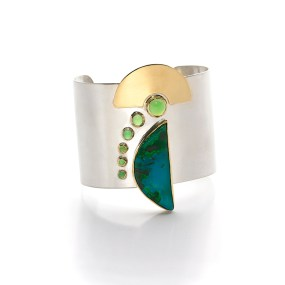 Re-Deco Cuff, 18K gold and silver-LJD jewelry designs Laura Jackowski-Dickson
