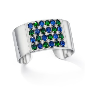 Silver Cuff Geometric Kyanite and Chrome Diopside 6X4 Oval - LJD Jewelry Designs by Laura Jackowski-Dickson