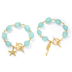 Gold Aquamarine Charm Bracelet- LJD jewelry designs by Laura Jackowski-Dickson