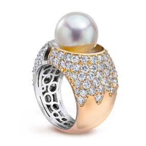 Gold Pearl Divided Ring two tone Gold with Diamonds and Pearl- LJD jewelry designs by Laura Jackowski-Dickson