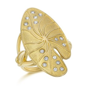Gold Diamond Lily Pad Ring Gold - LJD jewelry designs by Laura Jackowski-Dickson