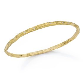 Gold Banyan Tree Bangle with Diamonds- LJD jewelry designs by Laura Jackowski-Dickson