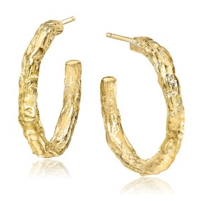 Gold hoop earrings small Bnayan Tree series- LJD jewelry designs by Laura Jackowski-Dickson