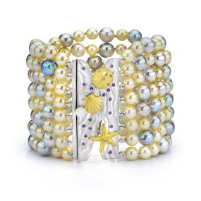 Gold-Silver Pearl Beach Bracelet- LJD jewelry designs by Laura Jackowski-Dickson