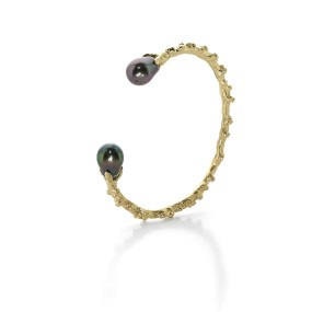 Pearl Gold Cuff 25 grams Palm Berries series - LJD jewelry designs by Laura Jackowski-Dickson