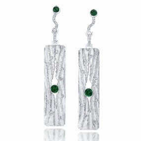 Platinum Diamond Earrings Rippled Sand series with Tsavorite Garnets- LJD jewelry designs by Laura Jackowski-Dickson