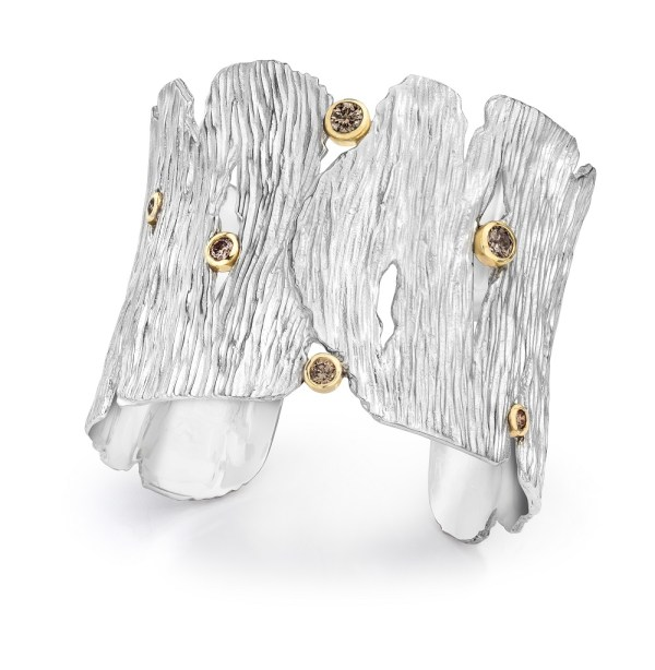 Silver Gold Seagrass Cuff Diamonds- LJD jewelry designs by Laura Jackowski-Dickson