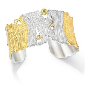 Gold-Silver Seagrass Cuff 5 section with Diamonds- LJD jewelry designs by Laura Jackowski-Dickson