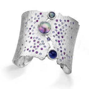 Silver Cuff Tahitian Moonlight Torn Between series- LJD jewelry designs by Laura Jackowski-Dickson