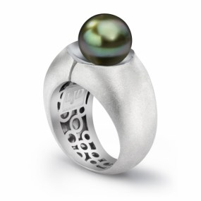 Silver Pearl Divided Ring- LJD jewelry designs by Laura Jackowski-Dickson