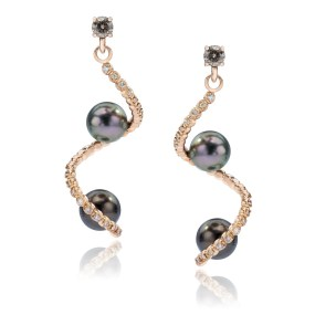 Rose Gold Pearl Spiral Earrings with Diamonds and 2 Pearls each- LJD jewelry designs by Laura Jackowski-Dickson