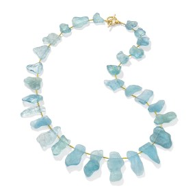 Gold Aquamarine Bib Necklace,Tahiti Beach